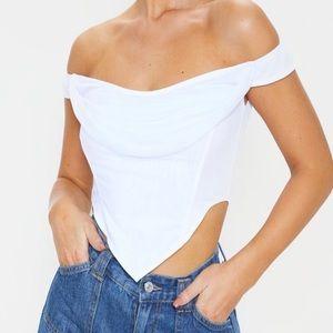 White mesh corset top